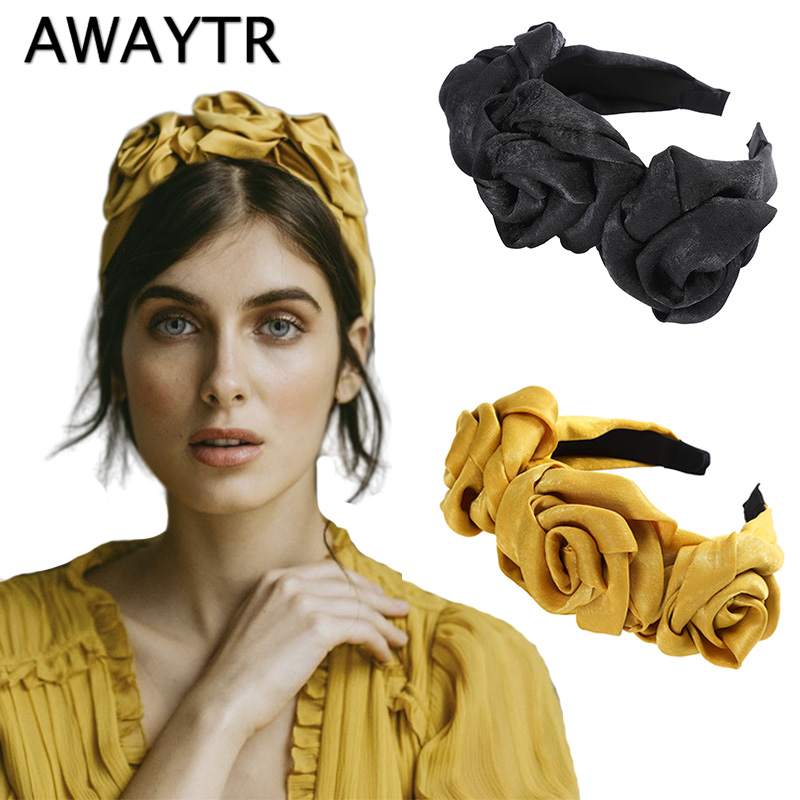 AWAYTR New Flower Fabric Headband Women Floral Bud Decoration Hairband Ladies Retro Hair Loop Female Headwear Hair Accessories