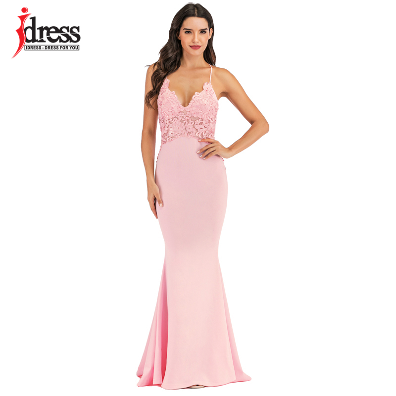 IDress Pink Black White Lace Sexy Maxi Dress Women Elegant Party Club Dresses Spaghetti Strap Backless Bridesmaid Party Dresses (5)