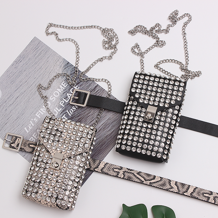 2019 Chic Bling Rhinestone Flap Women Waist Packs Serpentine PU Leather Adjustable Waist Belt Phone Purse Bag Chain SHoulder Bag