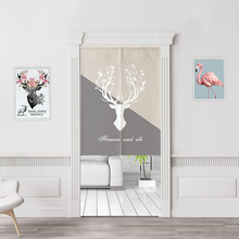 Nordic elk Doorway Curtain,Decorative  Door Curtain,Polyester Fabric Room Divider Tapestry for Porch Kitchen Bedroom Home Decor
