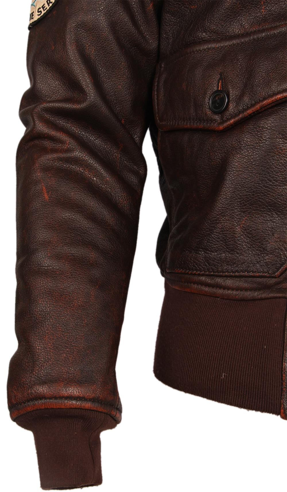 H49106c5b28544ca28fa522eb426fd25db Vintage Distressed Men Leather Jacket Quilted Fur Collar 100% Calfskin Flight Jacket Men's Leather Jacket Man Winter Coat M253