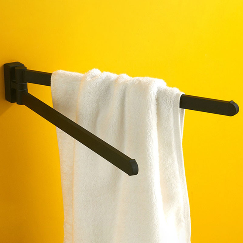 Swivel Towel Bar Movable Double Towel Rails Bathroom Storage Rack Chrome Polished Matt Rubber Bathroom Accessories Storage Shelf