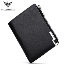 WILLIAMPOLO Men Wallets Male Purse Genuine Leather Wallet with Coin Pocket Zipper Short Credit Card Holder Wallets  Leather цены