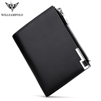 WILLIAMPOLO Men Wallets Male Purse Genuine Leather Wallet with Coin Pocket Zipper Short Credit Card Holder Wallets  Leather genuine cow leather men wallets rfid double zipper card holder high quality male wallets purse vintage coin holder men wallets