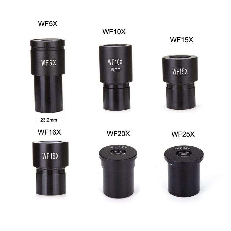 Biológiai mikroszkóp szemlencse WF5X WF10X WF15X WF16X WF20X WF25X Mikroszkóp lencsék tartozékai Széles látószögű lencsék monokuláris szemüveg