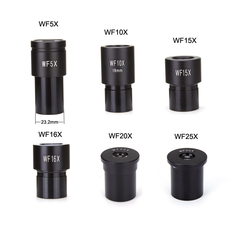 Biologický mikroskop Brýle WF5X WF10X WF15X WF16X WF20X WF20X WF25X Mikroskopické čočky Příslušenství širokoúhlých objektivů