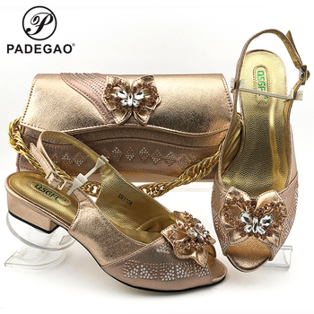 Latest Comfortable Shoes and Bags Set Italian Sets 2020 African Shoes and Matching Bags Women Rhinestone Wedding Shoes