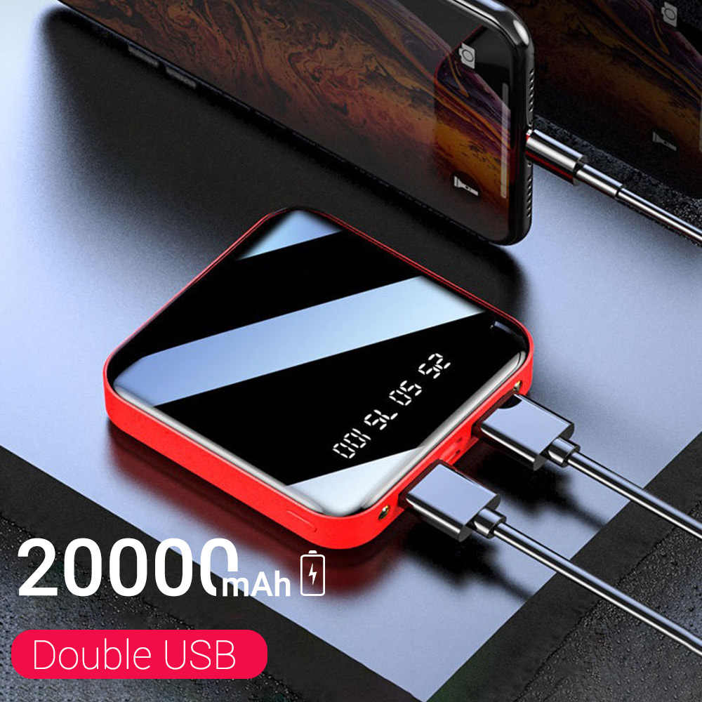 20000 Mah Mini Portable Power Bank Opladen Mobiele Telefoon Led Spiegel Back Mobiele Power Externe Batterij Powerbank