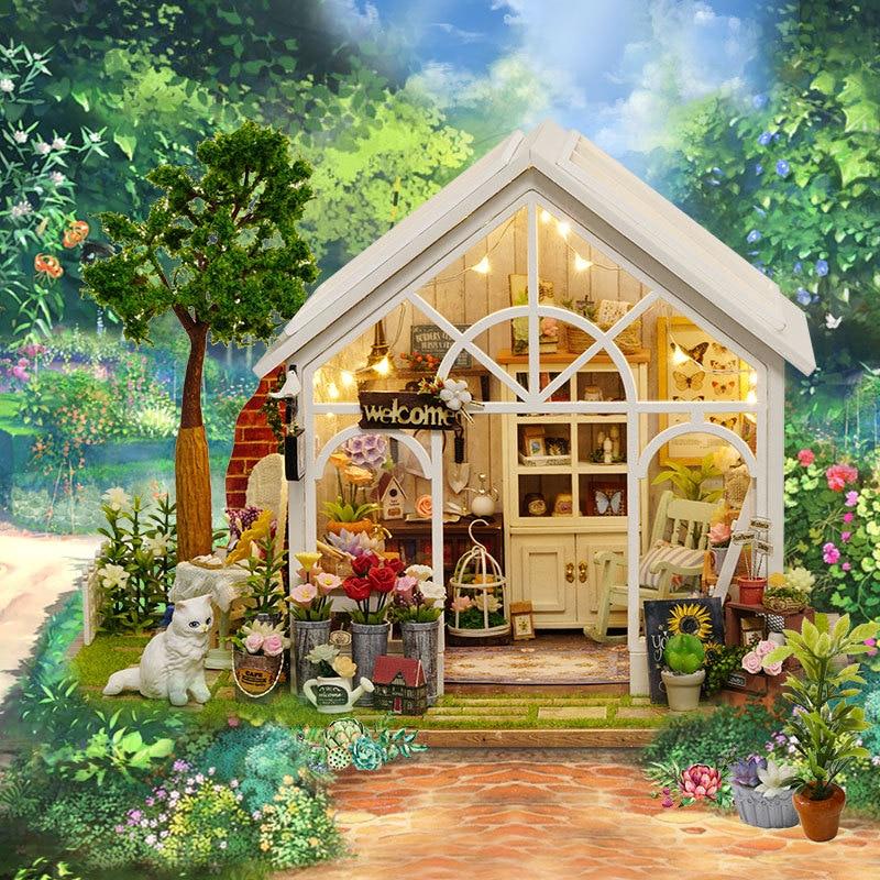 Assembler bricolage maison de poupée jouet en bois Miniatura maison de poupée maison de poupée jouets avec des meubles anniversaire cadeau de noël ensoleillé maison de fleurs