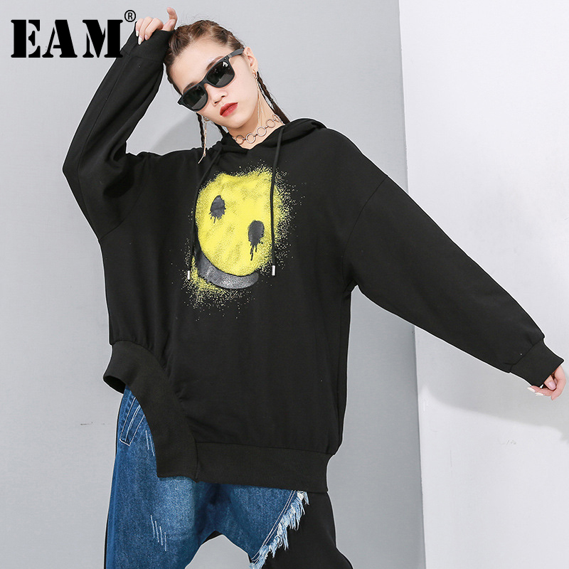 [EAM] Loose Fit Pattern Print Oversized Long Sweatshirt New Hooded Long Sleeve Women Big Size Fashion Tide Spring 2020 1N892