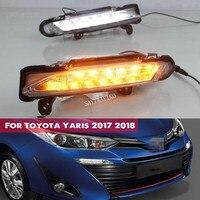 Für Toyota Yaris 2017 2018 Wasserdicht 12V LED Drl Licht Tageslicht nebel lampe mit Blinker stil Relais