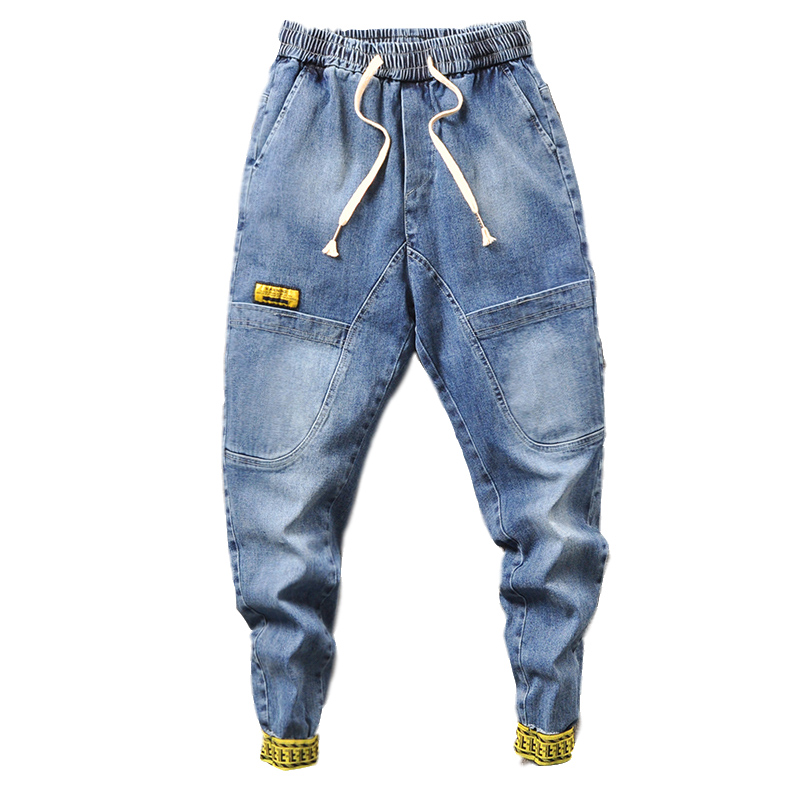 2020 Men Denim Jeans Men Harem Jeans Pants Male Drawstring Belt Vintage Trousers