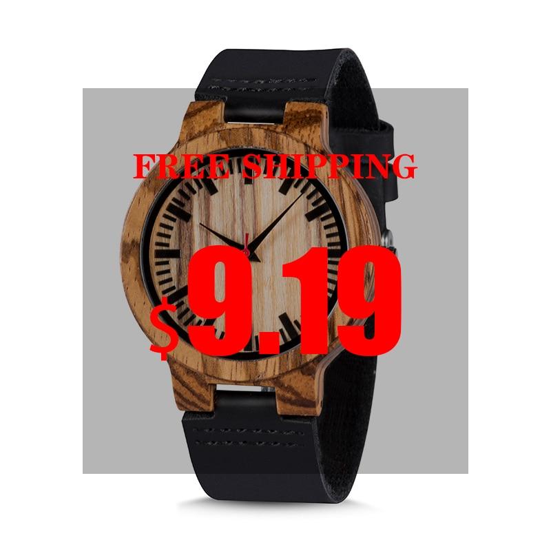 BOBO BIRD Watch Man Ladies Wood HandmadeZebra Ebony Wood Wristwatches Male Leather Quartz In Sales Deal High Quality Christmas