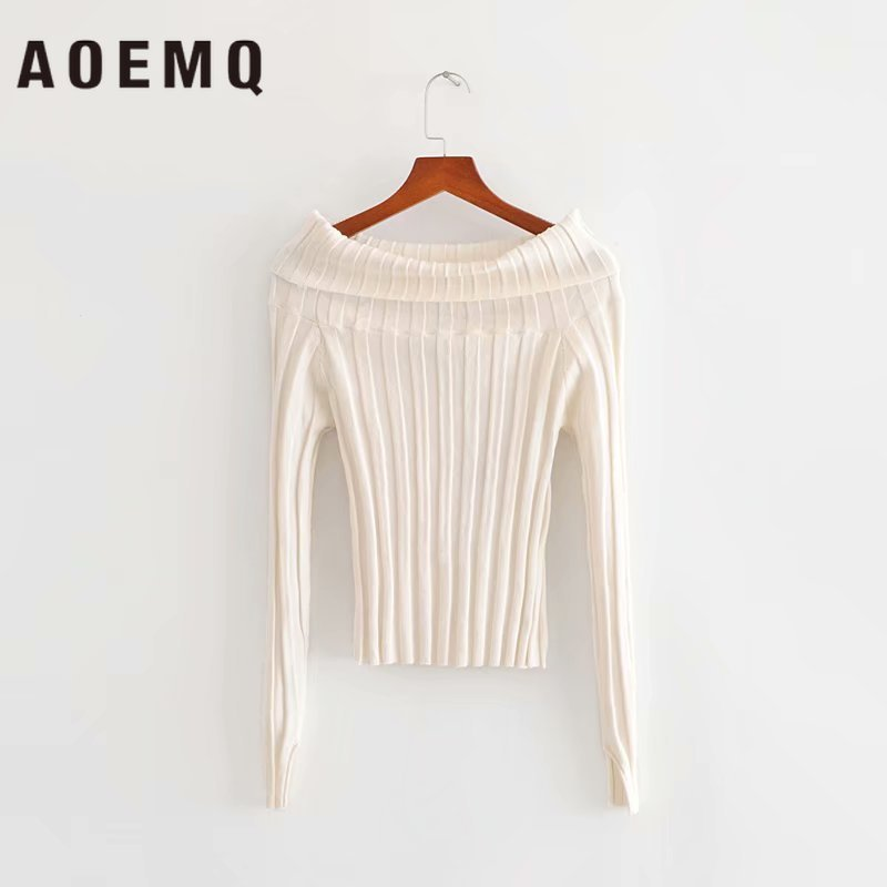 AOEMQ Slim Sweater Solid Striped White Tight Slash Collar Noble England Sweater Office Lady Birthday Present Women Clothing