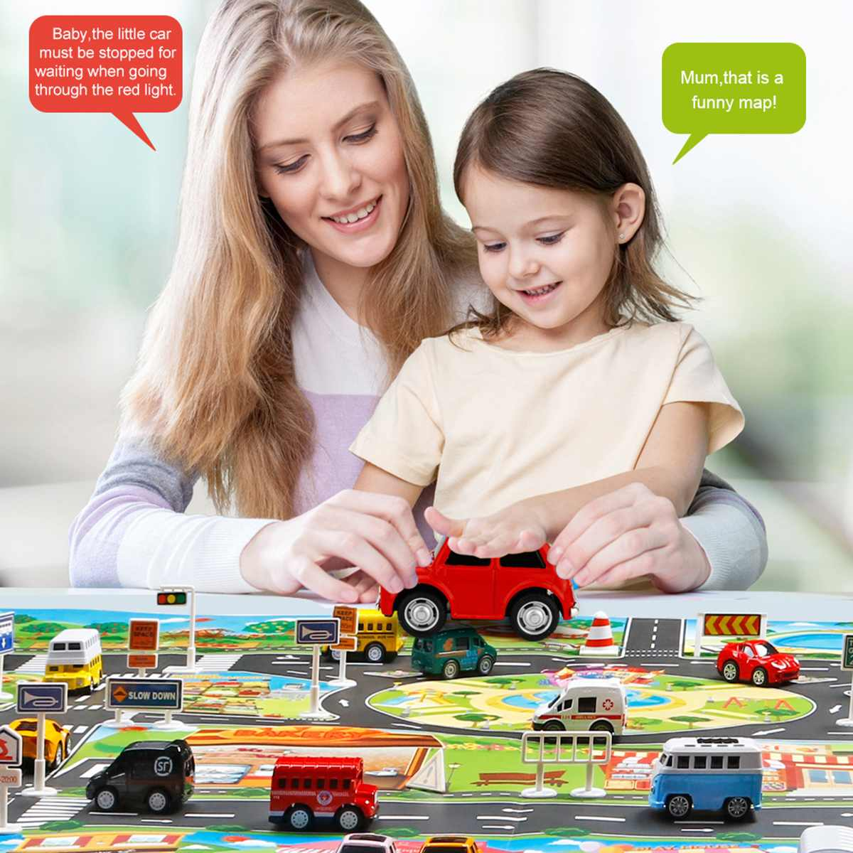 <font><b>130*100CM</b></font> Enlarge Car Toy Waterproof Playmat Simulation Toys City Road Map Parking Lot Playing Mat Portable Floor Games image