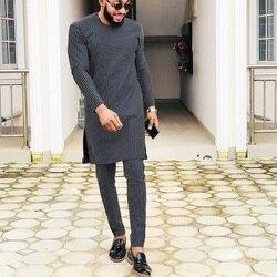 African Fashion Black And White Stripes Denim Men's Pant Sets O-neck Top And Trouser Senator Style Men's Outfits Dashiki Wear