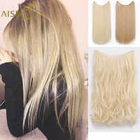 AISI BEAUTY No Clips in One Piece Synthetic Hair Extensions Long Fish Line Straight Hair Extensions Secret Invisible Hairpieces