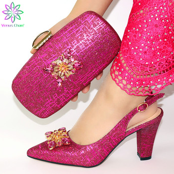 African fuchsia shoe and bag set for party Italian shoe with matching bag new design lady matching shoe and bag
