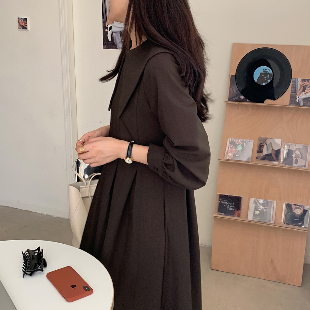 H4910f00db9e3409fada00b4ec07a9c9bx - Autumn Big Lapel Collar Long Lantern Sleeves Solid Loose Midi Dress