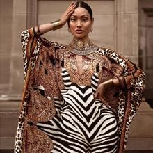 African Dresses for Women Plus Size Zebra Printed Dashiki Elegant Ladies Gown Muslim Abaya Kaftan Bat Sleeve V-neck Robes