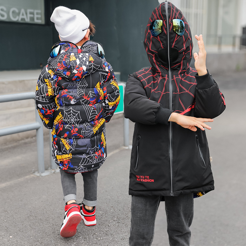 Children Duck Down Two-sided Jackets Boy Double-Sided Spider Warm Down Coat Winter Casual Fashion Long Sleeve Zip Top Clothes