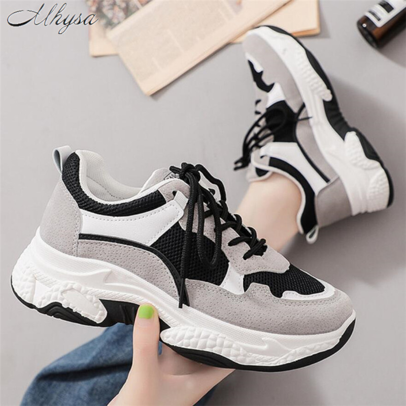 Mhysa 2019 New Fashion Women Sneakers Thick Sole Ladies Platform Shoes Web Celebrity Chunky Women Dad Sneakers Chaussures Femme