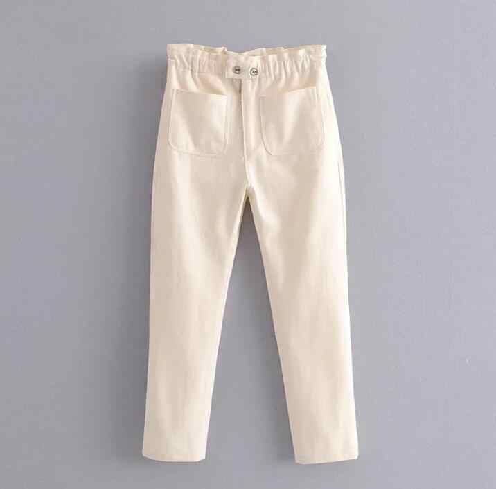 2020 Vintage Wit Zwart Hoge Taille Denim Broek Lente Zomer Vrouwen Jeans Button Fly Enkellange Broek