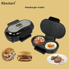 Kbxstart мини многофункциональная машина для приготовления завтрака, стейк, гамбургеры, жареное яйцо, сэндвич Панини, нержавеющая сталь, барбекю, 220 В