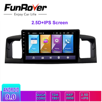 FUNROVER 2.5D+IPS Android 9.0 2 din car radio gps Multimedia player For TOYOTA Corolla E120 BYD dvd navigation navi stereo RDS