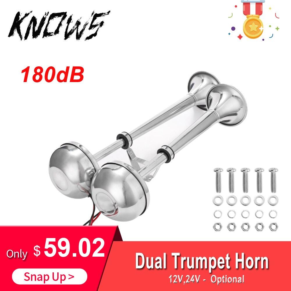 Trompette électrique Double corne 12 V/24 V basse et haute tonalité en acier inoxydable Double trompette pour bateau Yacht camion voiture 180dB 400mm + 460mm