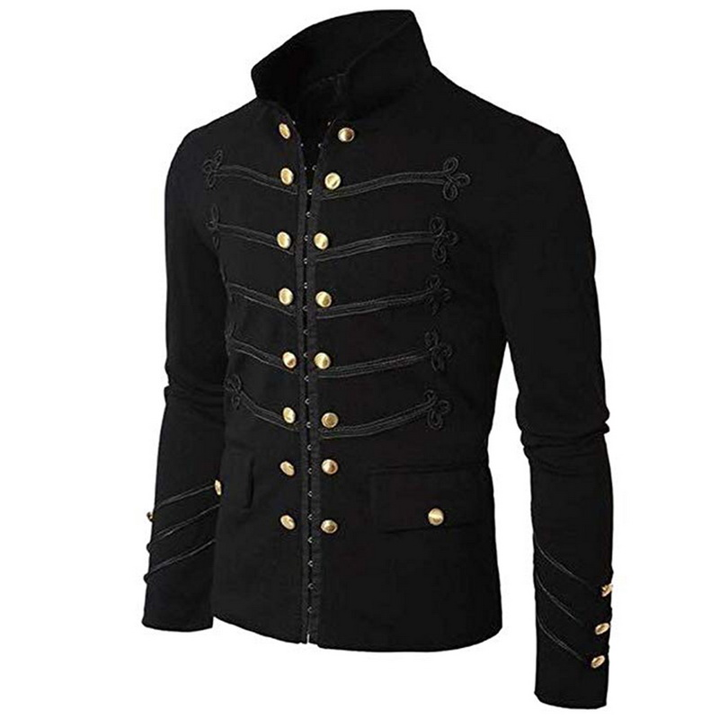 Vogue Nice Retro Men Gothic Jacket Military Steampunk Tunic Rock Frock Men Punk Costume Vintage Coat Outwear