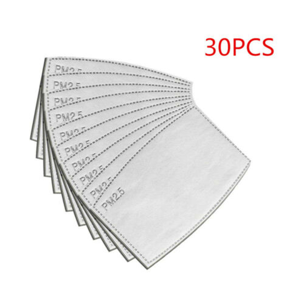 30PCS Adult Outdoor PM2.5 Activated Carbon Filter Face Cover Breathing Insert