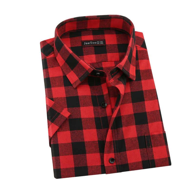 Jeetoo 2020 新ファッションメンズ夏のカジュアルドレスシャツメンズ赤と黒のチェック柄半袖シャツトップス