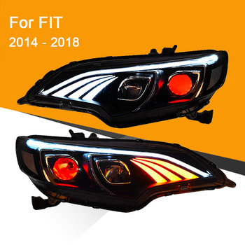 1 Pair Head Light Assembly for Honda FIT 2014 2015 2016 2017 2018 LED Headlight Running Light Sequential Turning Signal Lamp