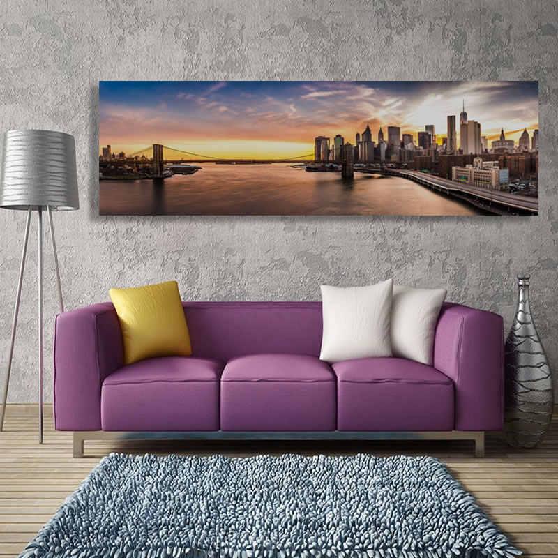 Jembatan Brooklyn Panorama Kanvas Lukisan Cetakan New York Malam Kota Dinding Gambar untuk Dekorasi Rumah Modern Ukuran Besar (Tidak Ada frame)
