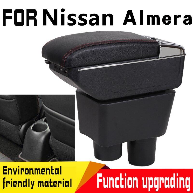 Skórzany podłokietnik samochdoowy do nissana almera center pudełko do przechowywania na deskę rozdzielczą w Podłokietniki od Samochody i motocykle na Huabang Automobile Products Store