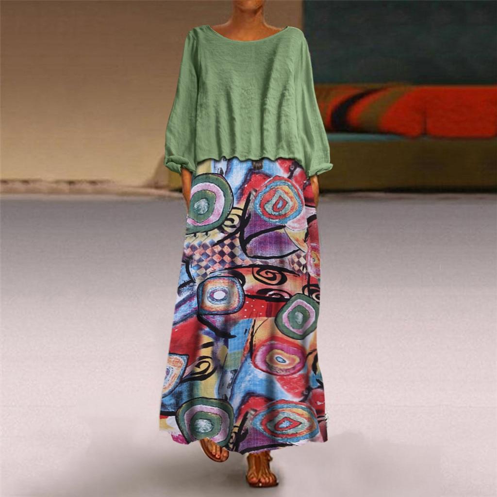 Autumn Bohemian Dress Women Vintage Two Pieces Ethnic Print Long Sleeve O-Neck Plus Size 5XL Floor-Length Dresses vestidos