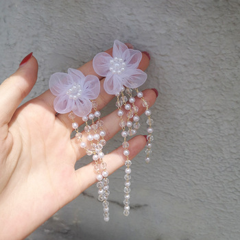 New Korean Crystal Pink Flower Tassel Long Drop Earrings For Women Geometric Elegant Dangle Pendientes Gifts image
