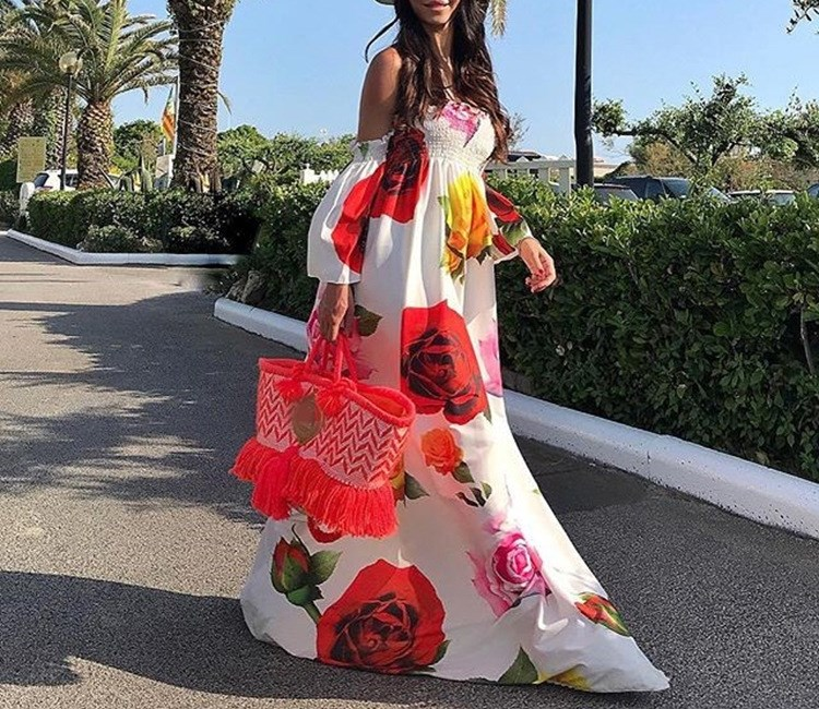 2018 Women Sexy One-Neck Flower Print Dress Off Shoulder Long Sleeve Backless Elegant