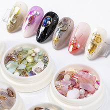 Nagel Perle Shell Fragmente Metall Pailletten Mixed Set Mode Kreative DIY Nagel Legierung Schmuck Kunst Dekoration