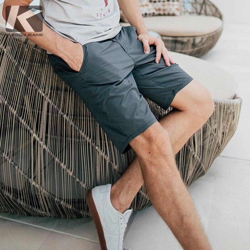 KUEGOU Cotton Men's Shorts  Summer Pants Micro Stretch Straight Type Casual Pants  Slim Fashion Shorts Men Pants Size KK-2920