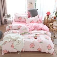 귀여운 침대 시트 복숭아 인쇄 홈 섬유 침구 럭셔리 과일 이불 커버 세트 시트 침구 3/4pcs 여자 선물 퀸 킹 사이즈