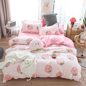 Image 1 - Cute bed linens peach print Home textile bedding luxury fruit duvet cover set sheet bedclothes 3/4pcs girls gift queen king size