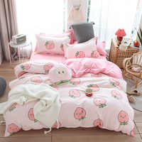 Cute bed linens peach print Home textile bedding luxury fruit duvet cover set sheet bedclothes 3/4pcs girls gift queen king size