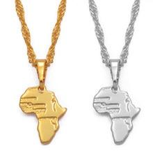 Anniyo – pendentif et collier Mini carte de l'afrique pour femmes et filles, 1.3CM, bijoux couleur or, petite carte de l'afrique, vente en gros, #048604