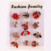 12 Pieces Mixed Crystal and Enameled Insect Bee and Ladybird Brooch Pins Sets for Women or Bags Decorations Y4QB