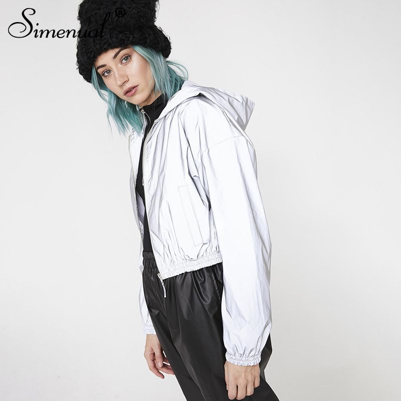 Simenual Fashion Reflective Women Jackets Zipper Hooded Long Sleeve Autumn Outerwear Casual Slim 2019 Winter Solid Female Coats in Jackets from Women 39 s Clothing