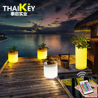LED Light up Flower Pot Tall garden glow planter 100% waterproof illuminated flower pots led cylinder pot lamp