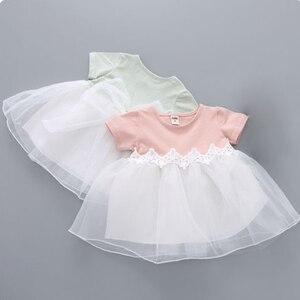 Бальное платье с короткими рукавами для маленьких девочек 0-3 лет, Кружевной Тюль с цветами и бантом, вечерние платья принцессы