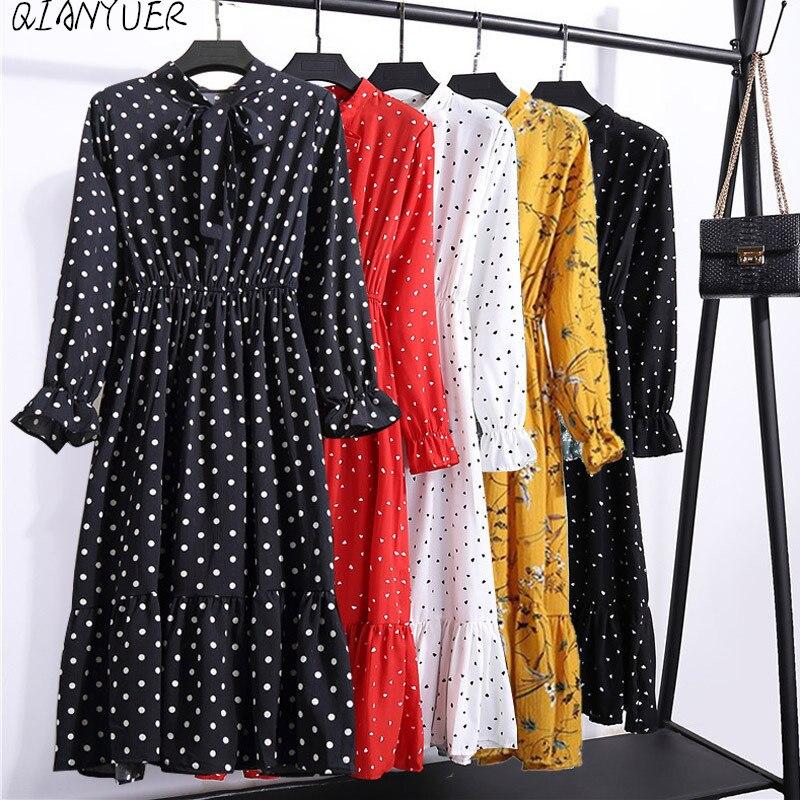 Women Casual Spring Dress Lady Korean Style Vintage Floral Printed Chiffon Shirt Dress Winter Long Sleeve Bow Midi Dress Vestido